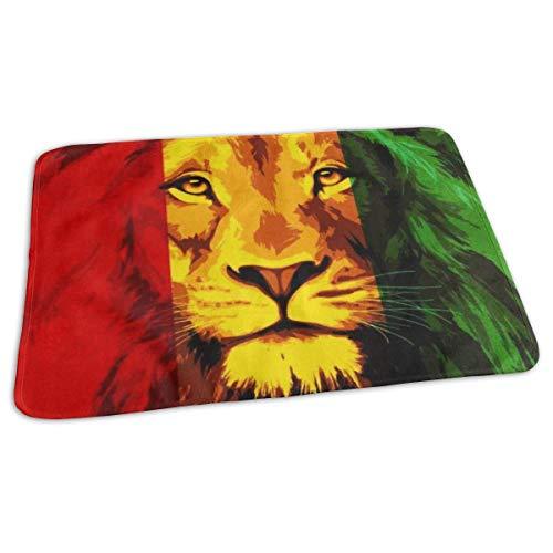 Matelas à langer portable - Imperméable et réutilisable - Pour changer de couche - Design unisexe pour filles et garçons - Reggae Rasta Drapeau Lion King