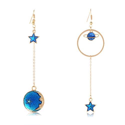 SUNSCSC Enamel Moon Star Earth Planet Drop Hook Earrings Long Pendant Dangle Jewelry for Woman Girls (Long W757)