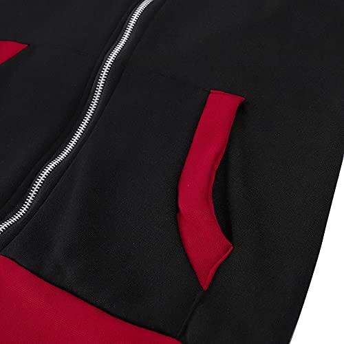 feftops Abrigos Mujer Rebajas Invierno Talla Grande Espesar Plumas Rebajas Elegante Orejas de Gato Sudadera con Capucha Caliente y Esponjoso Hoodie Chaqueta Suéter Felpa-Rojo