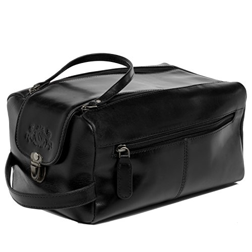 SID & VAIN® borsa toiletry vera pelle BRISTOL grande borsetta necessaire Toilette pochette beauty case da Viaggio uomo donna cuoio nero