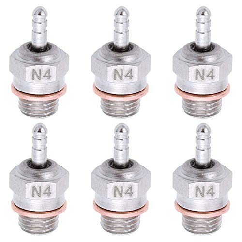 kingsea 70117 RC Spark Glow Plug No.4 N4 Super Duty Spark Engine Parts for RC Nitro Engine Replace OS 8 Car Truck Buggy (Pack of 6)