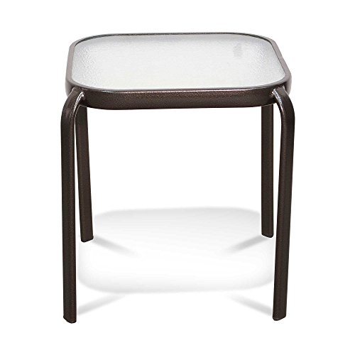Never Rust Aluminum and Glass Outdoor End Table in Bronze