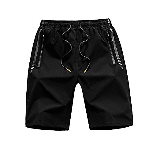 Jubaton Pantalones Cortos de Entrenamiento Ligeros para Correr o Gimnasio para Hombres con Bolsillos con Cremallera Pantalones Cortos de Playa Hawaianos para Vacaciones al Aire Libre L