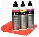 Koch Chemie Politur Set Heavy Cut Schleifpolitur + Feinschleifpaste Fine Cut + Micro Cut & Finish mit MC Mikrofasertuch