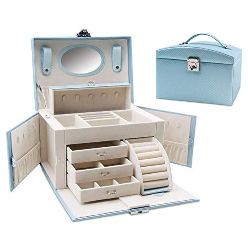 HM&DX Caja joyero Organizador con Lock Cajones Cuero sintético Gran Capacidad Almacenaje Caja para Joyas para niñas Mujer-Azul