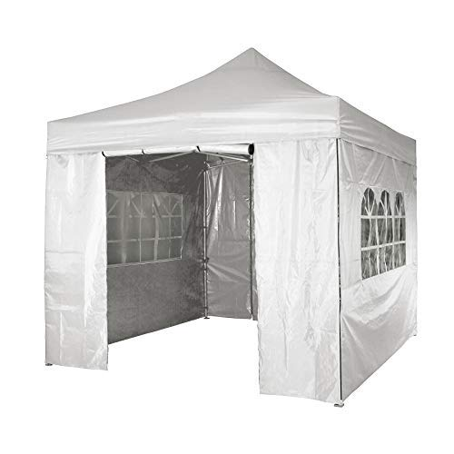SANHENG Gazebo With Sides, Waterproof Gazebo with 4 Side Panels, Fully Waterproof, Party Tent Marquee Awning with Powder Coated Steel Frame (3x3m,White)