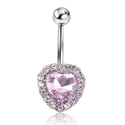 Color Yun Stainless Steel Heart Shape Dangle Navel Ring Belly Piercing Kit Belly Button Rings Fashion Body Piercing Jewelry