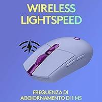 Logitech G305 Mouse Gaming Wireless Lightspeed, Sensore HERO, Lilla + Logitech G733 Lightspeed Cuffia Wireless con Microfono Gaming, Lilla #6