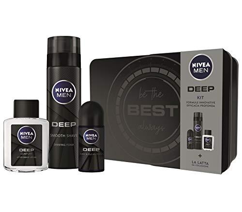 Nivea Men Deep Kit Set Regalo Uomo con Deep Schiuma da Barba 200 ml, Deep Deodorante Roll-on...