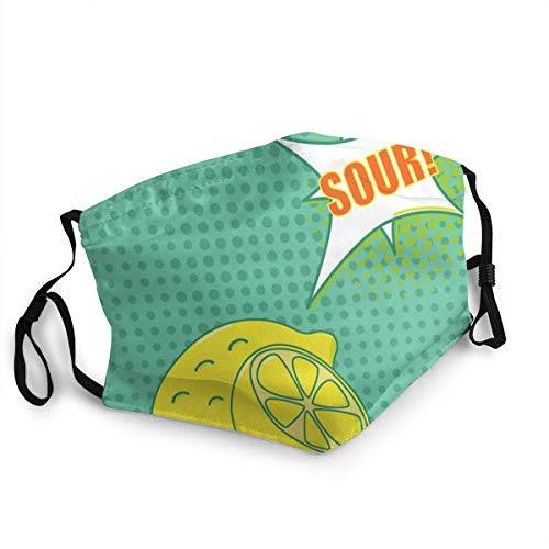 SundriesShop Staubdichte Winddichte Gesichtsmaske, Wiederverwendbare Pop-Art-Zitrone, waschbares Tuch, Gesichtsabdeckung, Abdeckung für Staub Männer Frauen