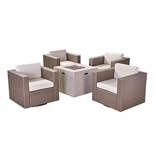 Great Deal Furniture Fuller Outdoor 4 Piece Swivel Club Chair Set with Square Fire Pit, Mixed Black...