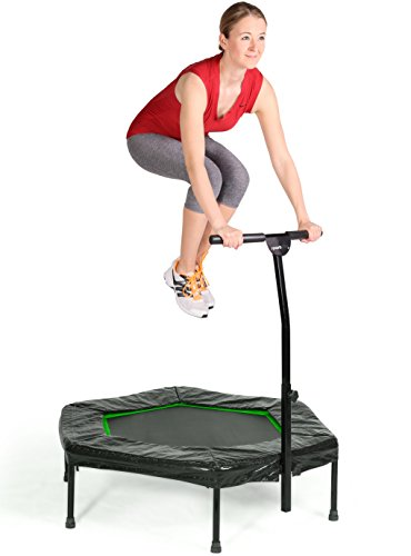 SportPlus-Fitness-Trampoline-with-Bar--Ideal-for-Home-Cardio-Workout--Training--Silent-Bounce--110-cm--Max-Load-130-Kg-User-Weight