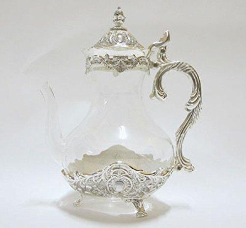 Orientalische Glas-Teekanne 1,2 L Silber verziert SR9644D-GL