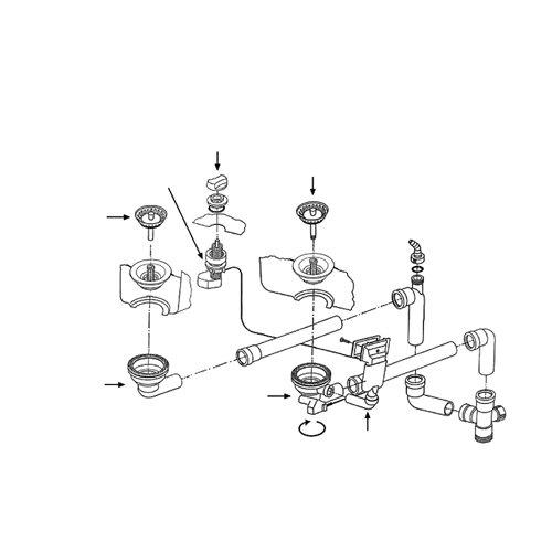 Ab- und Überlaufgarnitur für die FRANKE Einbauspüle CP 652 - Eck / Ersatzteil Spüle / Ablaufgarnitur