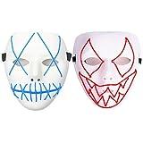 Halloween Mask, 1 Piece LED Jabbawockeez Mask Blue + 1 Piece LED Venom Mask Red