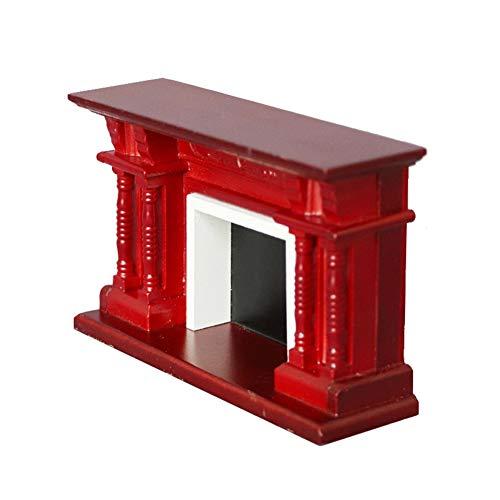 lamta1k Puppenhaus Kamin,1/12 Puppenhaus Europäischer Holzkamin Modell Mini Wohnzimmer Möbel Dekor