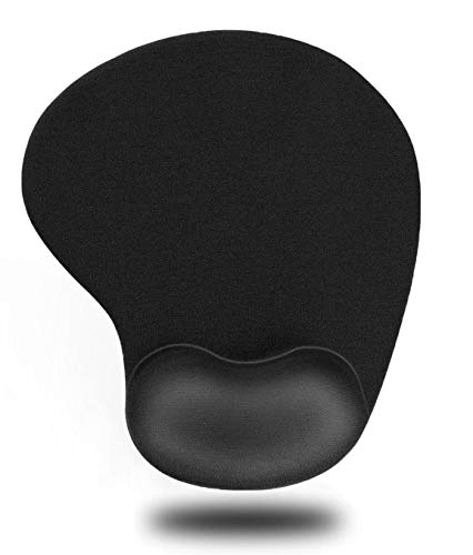 Monzeen Mouse Pad, Ergonomic Mouse Pad with Comfortable Gel Wrist Rest Support and Lycra Cloth, Non-Slip PU Base for Computer, Laptop, Home, Office & Travel(Black)