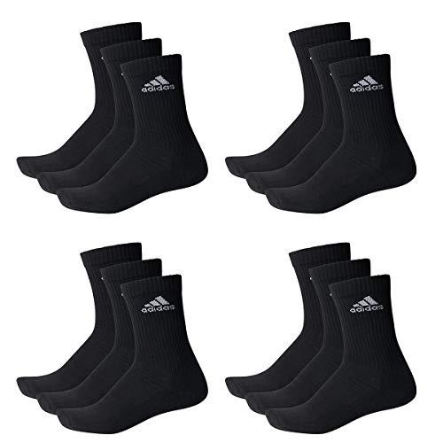 adidas 12 Paar Performance CUSHIONED CREW 3p Tennissocken Sportspocken Unisex, Farbe:Black, Socken und Strümpfe:43-45