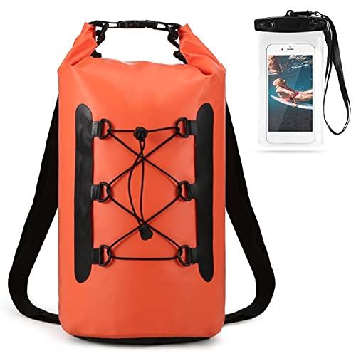YUBIN Bolsa de PVC Impermeable de 15L con Funda para teléfono Mochila a Prueba de Agua para Nadar Bolsa Seca de Trekking Bolsa Seca Superior Enrollable para Paseos en Bote, Pesca, Surf