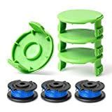 Lenink Replacement Spool Cap Covers String Line Compatible with Ryobi One Plus AC14RL3A 18V 24V 40V Cordless Trimmer (4 Caps, 3 Spool Lines)
