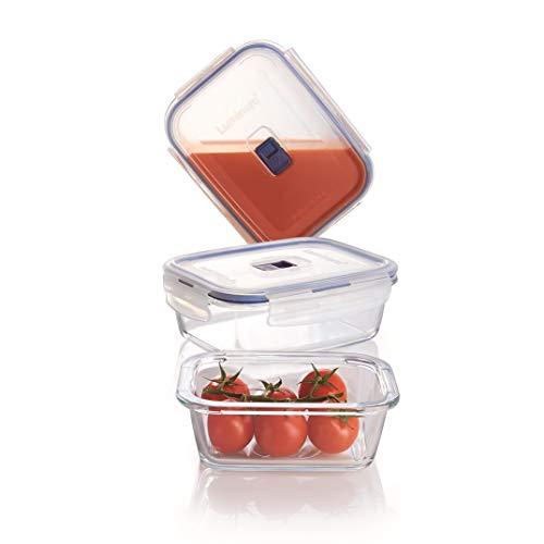 Luminarc Pure Box Active - Set de recipientes herméticos rectangulares de vídrio, 0,38 + 0,82 + 1,22 l