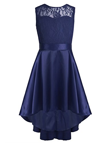 iEFiEL Kinder Kleider festlich Mädchen Taufkleid Blumensmädchenkleid Prinzessin Hochzeit Party Kleid 104 116 128 140 152 164 Marineblau 152