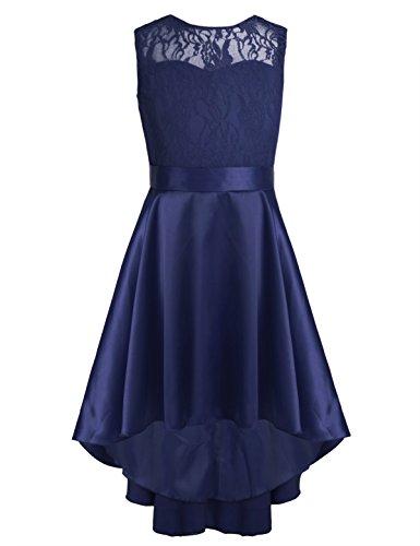 iEFiEL Kinder Kleider festlich Mädchen Taufkleid Blumensmädchenkleid Prinzessin Hochzeit Party Kleid 104 116 128 140 152 164 Marineblau 164