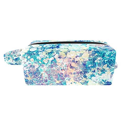 Bolsa de cosméticos, bonita bolsa de aseo de viaje, bolsa de maquillaje para niñas, abstracta, color azul