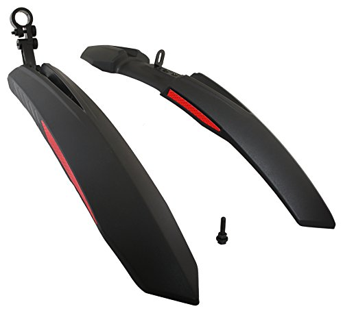 Dark Horse Plastic Bicycle Atom Mudguard with Reflective Tape, Black-Red