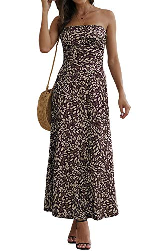 Ancapelion Damen Blumenmuster Maxikleid Langes Kleider Bandeau Kleid Böhmen Sommerkleid Trägerloses Strandkleid Elegante Abendkleid (Spot-Schwarz, M)