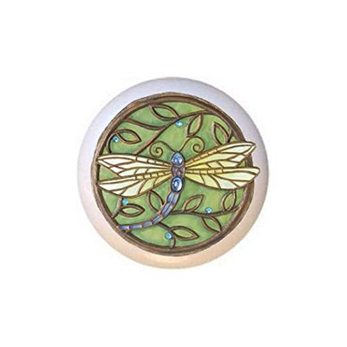Dragonfly Image #DGF1050 KNOB from The Dragonflies in The Round Collection Glossy Ceramic Dresser Drawer Pulls Cabinet Knobs