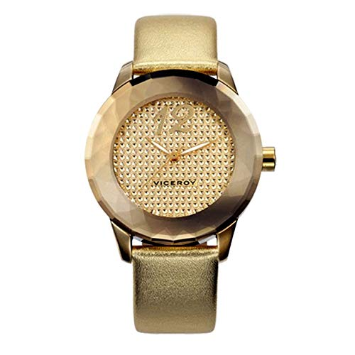 Viceroy 40702-95 - Reloj con original cristal facetado y correa de piel, Dorado