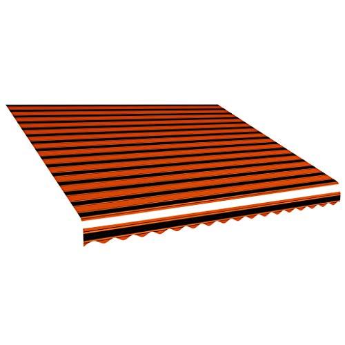 vidaXL Markisenstoff Wasserabweisend Markisentuch Sonnenschutz Sonnensegel Sichtschutz Markise Ersatztuch Segeltuch Orange Braun 4x3m