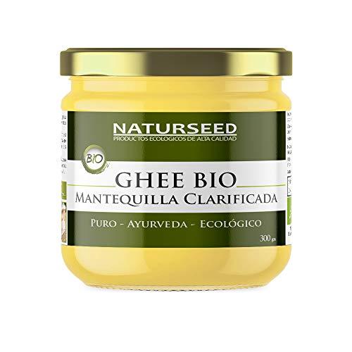 Naturseed Ghee Organico - Mantequilla Clarificada Bio Pura Ayurveda - 300gr - Sin Lactosa - Vacas alimentadas sólo de pastos ecologicos - Sabor Dulce - 250º- Recetas Gratis (300GR)