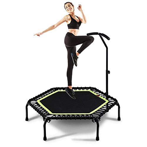 YAMMY 45''indoor Fitness Mini Circular Trampoline With Adjustable Handle,Safe Elastic Band,Indoor Fitness/Home Low-Impact Aerobic Workout For Adu(Indoor bicycle)
