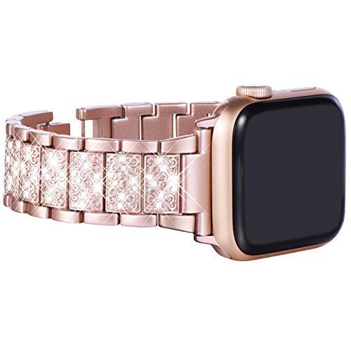 KADES kompatibel mit Apple watch Series 6 Series 5 Series 4 40mm Armband, Edelstahl-Gliederarmband für iWatch Series 1,2,3 38mm, Silber