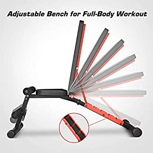 Pelpo Weight Bench for Full Body Workout, Adjustable Workout Bench for Home Gym Strength Training, Incline Decline Utility Weight Bench with 6 Positions, Black Frame