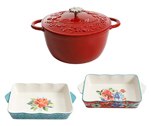 Timeless Beauty 5-Quart Dutch Oven with Lid, Red bundle with Spring Bouquet 2-Piece Baker Set - Enameled Cast Iron Dutch Oven and Decorative Floral Casserole Dish