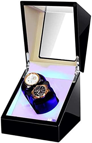 Joyero para Mujer Enrollador automático de Relojes Caja enrolladora de Relojes Dobles con luz LED Almohada Flexible para Reloj Adaptador de CA y batería Alta Gama/Negro + Blanco
