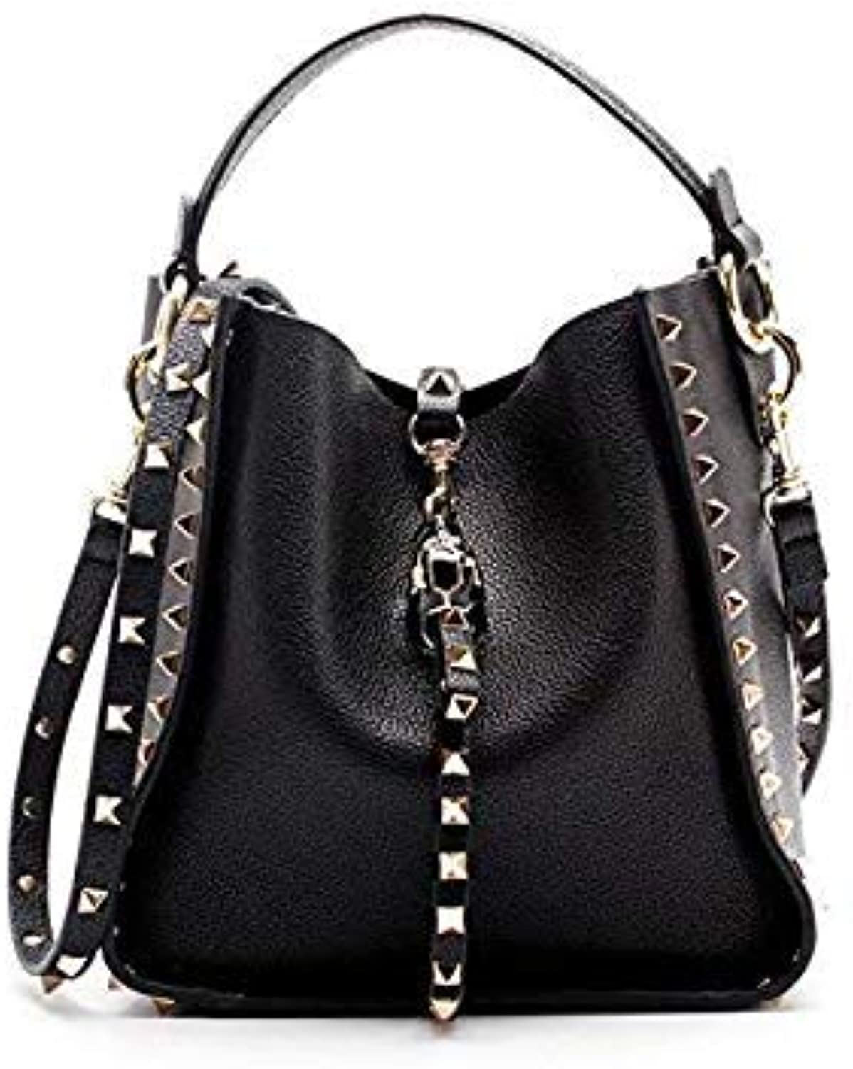Genuine Leather Famous Brand Rivet Crossbody Bags for Women Messenger Shoulder Bag Luxury Handbags Women Bags Designer Female color Black Size 19x13x21cm