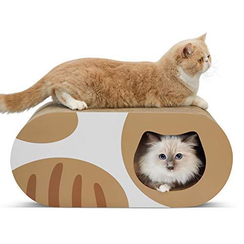 ComSaf Kratzbrett für Katzen, Katzenhöhle aus Wellpappe, Katzen Lounge Spielzeug Katzenbett, Recycelbar Katzenhaus, Kratzschutz für Sofa, Tür, Möbel, 58 x 25 x 25cm