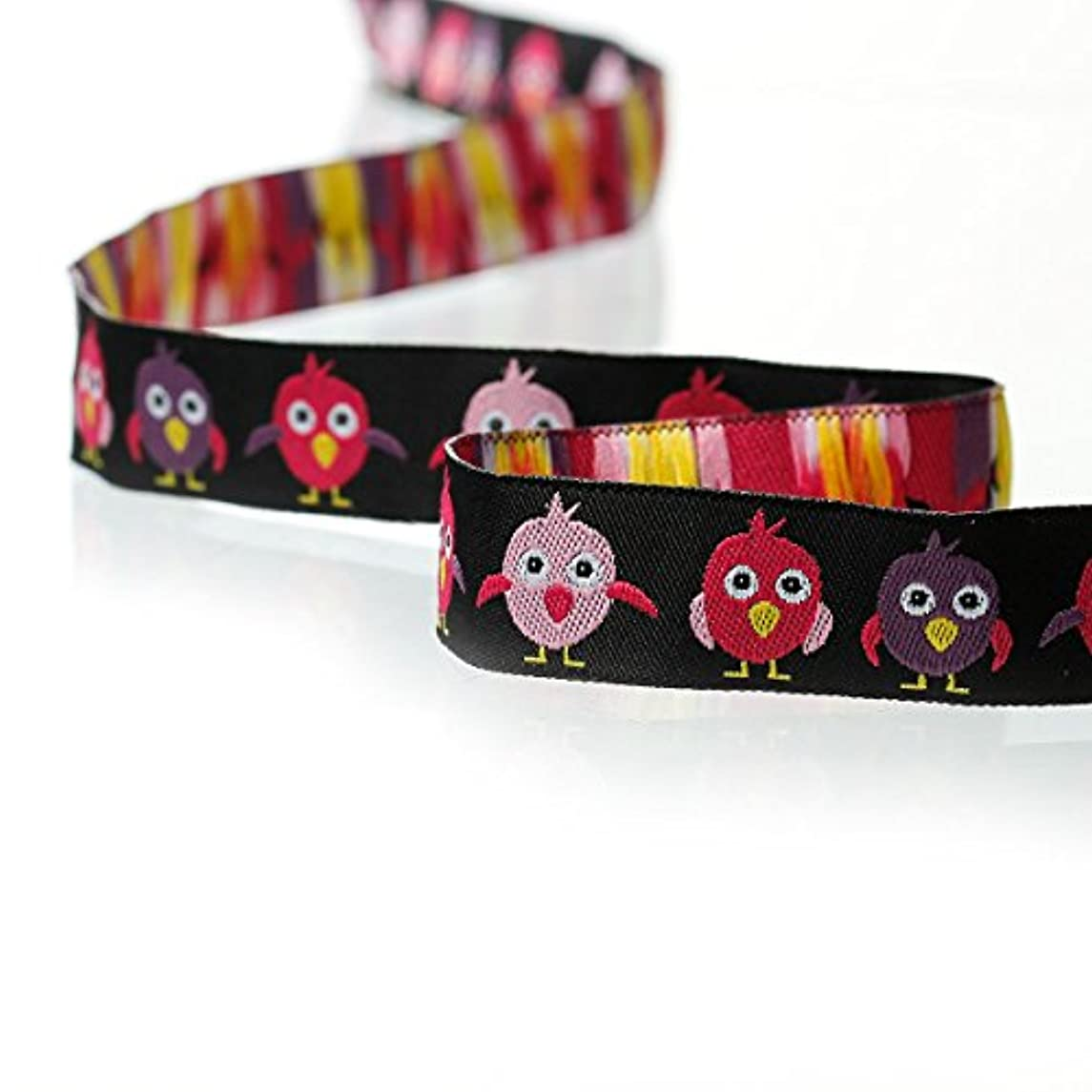 PEPPERLONELY 2 Meter Birds Printed Embroidered Woven Label Ribbon 16mm (5/8 Inch)