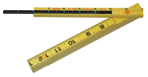 "Rhino Rulers Folding Carpenter's Ruler 6' Length with 6"" Sliding Extension - 55160"