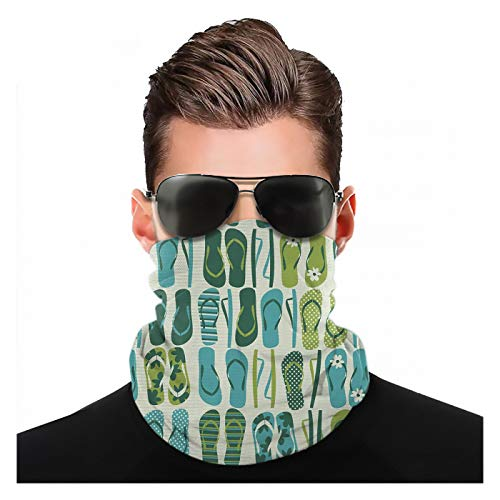 Yeuss Flip Flop Fabric by Head Scarf, Funky Beach Slippers Blended Aqua and Exotic Nature Colours, Sports headgear face mask dust dust mouth cover fashion pattern headscarf