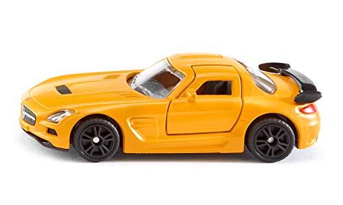 Siku 1542, Mercedes-Benz SIS AMG Black Series Sportwagen, Metall/Kunststoff, Gelb, Flügeltüren zum Öffnen, Gummierte Reifen
