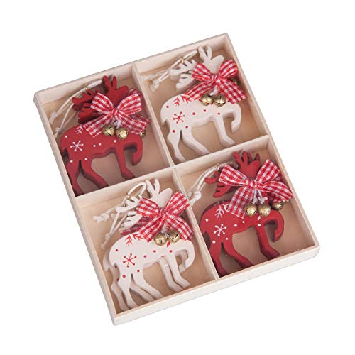 C&F Home Reindeer Rosy Red 6 x 5 Wood Christmas Hanging Figurine Ornaments Set of 8