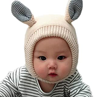 LANGZHEN Toddler Infant Winter Windproof Soft Knit Hat Cute Animal Beanie Hat for Baby Boys