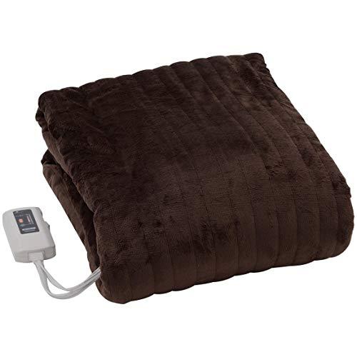 [山善]ふわふわもこもこ電気掛・敷毛布(丸洗い可能)188×130cm表面フランネル・裏面プードルタッチ仕上げ室温センサー付YMK-F43P(T)[メーカー保証1年]