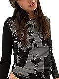 Y2K - Camiseta de manga larga para mujer, diseño con impresión de retrato Negro M