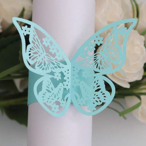 Serviettenringe Schmetterling Stil Laser Cut Papierservietten Halter Hotel Hochzeit Gefälligkeiten Tischdekoration 50 Teile/Satz-Tiffany-Blau